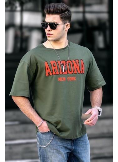 Madmext Arizona Baskılı Oversize Bisklet Yaka Erkek TShirt Haki